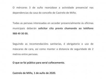 NOTA INFORMATIVA: Reanudación da actividade presencial na casa do Concello de Castrelo de Miño